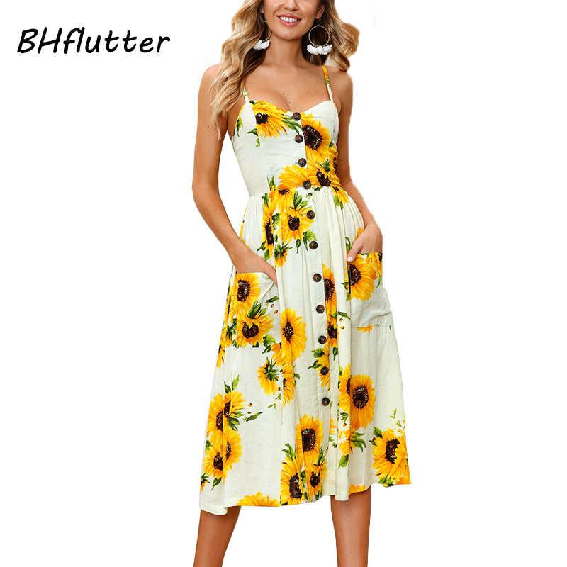 BHflutter пляж в стиле бохо платье 2018 Новая мода цветочный принт повседневное летнее платье больших размеров пуговицы без бретелек миди сексуальное платье
