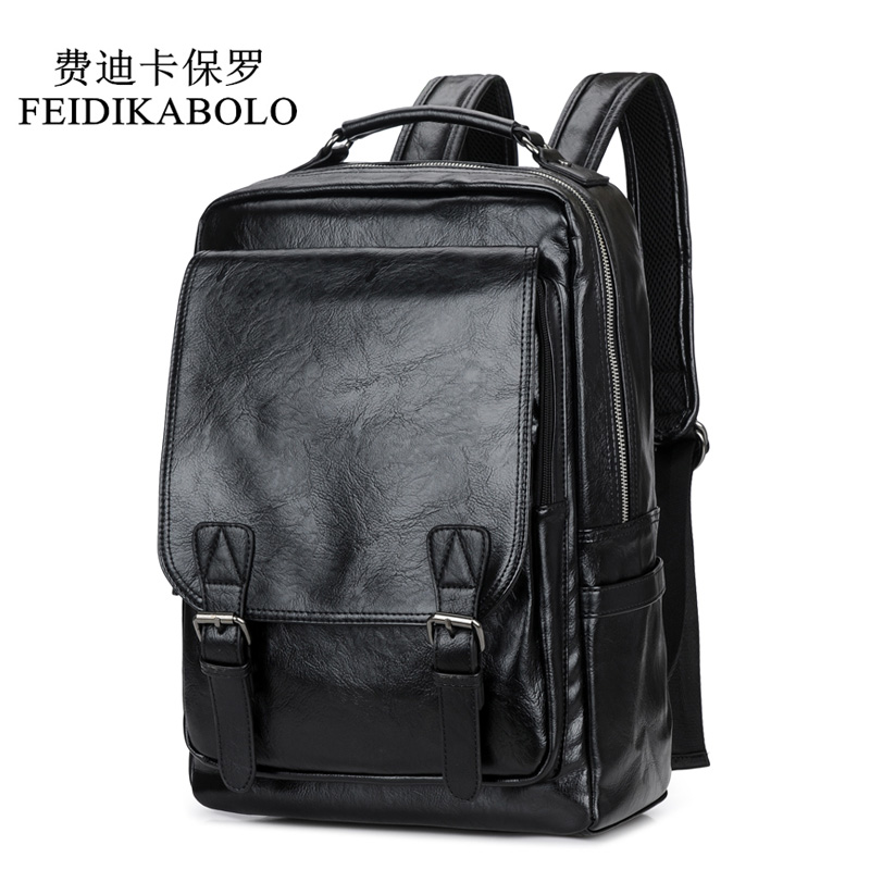 FEIDIKABOLO High Quality Leather Mens Backpack Black School Travel Backpack Casual Men Laptop Backpack mochila male