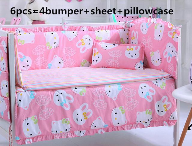 Promoção! 6 pcs hello kitty bebê crib bedding set 100% algodão roupas de cama berço do bebê (bumpers + folha + fronha)