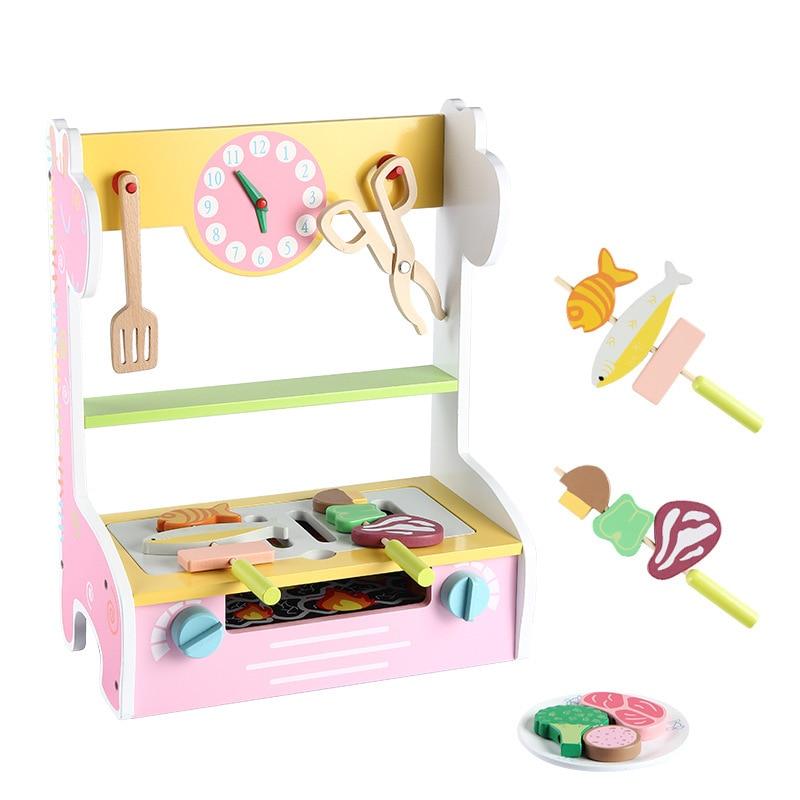 Nouveau En Bois jouets pour bébés jouets de cuisine Ensemble Barbecue Boutique
