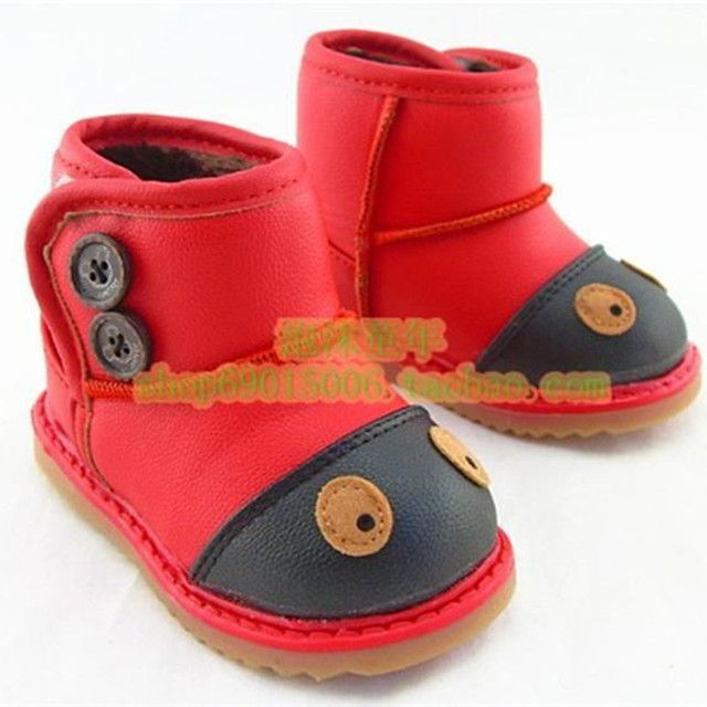2015 Winter Hot Sale Children's Boys Girls waterproof Snow Boots Ankle Boots Cartoon Shoes for Kids hook Free Shipping