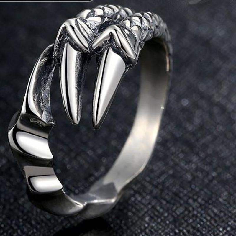 S925 Retro Silver Jewelry Dragon Claw Ring Sterling Silver 925 Opening Christmas Couple Gift Men цена