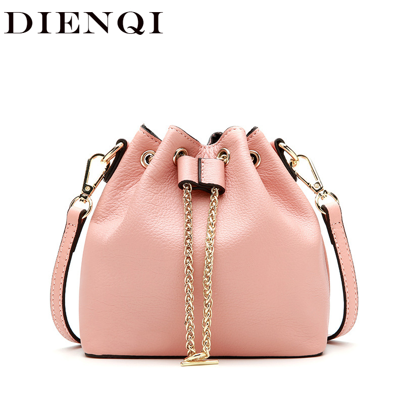 DIENQI Luxury Genuine Leather Messenger Bags Designer Women Leather Handbags Ladies Bucket Chains Crossbody Bag sac a main femme new leather bucket bag handbags women messenger bags fashion designer ladies casual tote bag crossbody bags for women sac a main