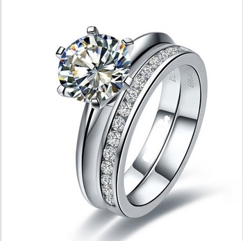 Classic Set Rings 6 Prongs 2Ct Round Cut Diamond Ring Set for Her Solid 925 Sterling Silver Engagement Ring White Gold Color