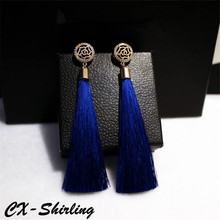 CX-Shirling Anti-Allergy Fashion  Earrings Exaggerated Vintage Rhinestone Crystal Long Silk Tassel Dangle Earring Women