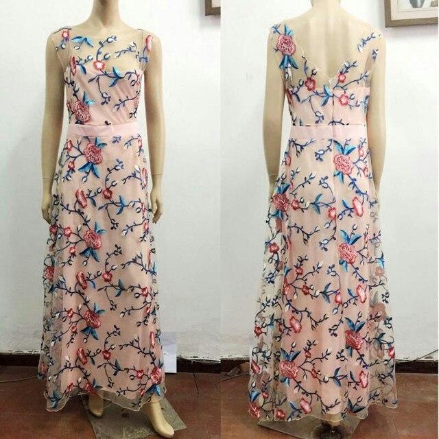 c838ffdb7af Runway Women Floral Embroidery Flower Casual Dress Summer Mesh Maxi Dress  Designer Dresses Long Sexy Dress Clothing Vestidos