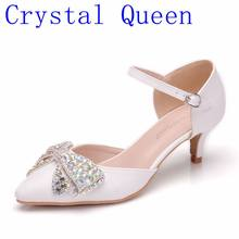 822d3ceedbe1 Crystal Queen Spring Autumn Women Sandals Sexy White 5CM High Heels Shoes  Bow Luxury Rhinestone Wedding Party Mary Jane Shoes