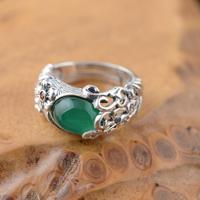 S925 Sterling inlaid green Natural stone ring hollow retro personality adjustable opening