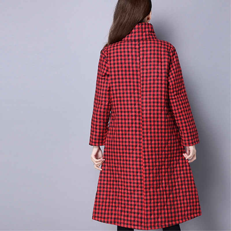 Manteau 2018 Taille red Coton Plus Treillis Hiver Nouveau Boutique Black De Mode La Femmes Vêtements Yzh351 Lâche Femelle xzxBqwrH6