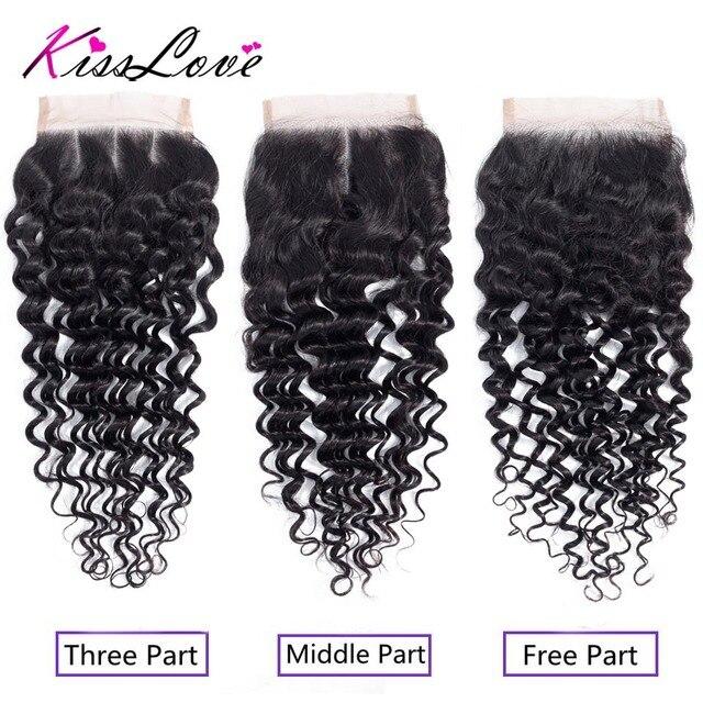 Kiss Love Brazilian Hair Deep Wave Bundles with Closure Human Hair Weave 3 Bundles with Lace Closure Middle Ratio Remy Hair 4