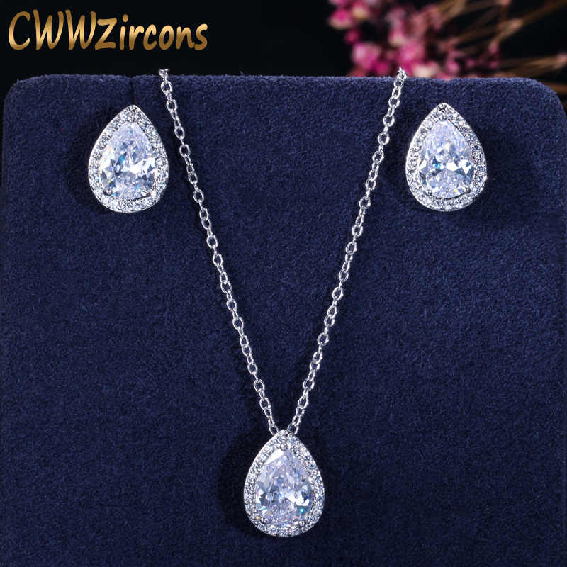 CWWZircons Tear Drop Design Simple Fashion Pear Cut Cubic Zirconia Necklace Pendant and Earrings Jewelry Sets For Women T058