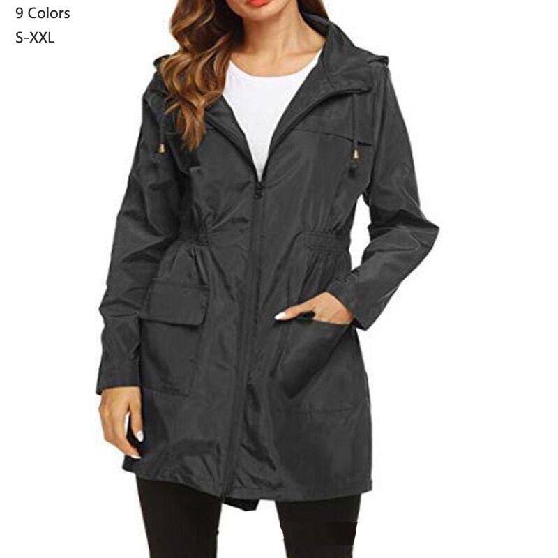 2019 New Fashion Women zipper waterproof Coats Medium Long Casual Hooded outerwear Female Trench coats lady raincoats 9 Colors