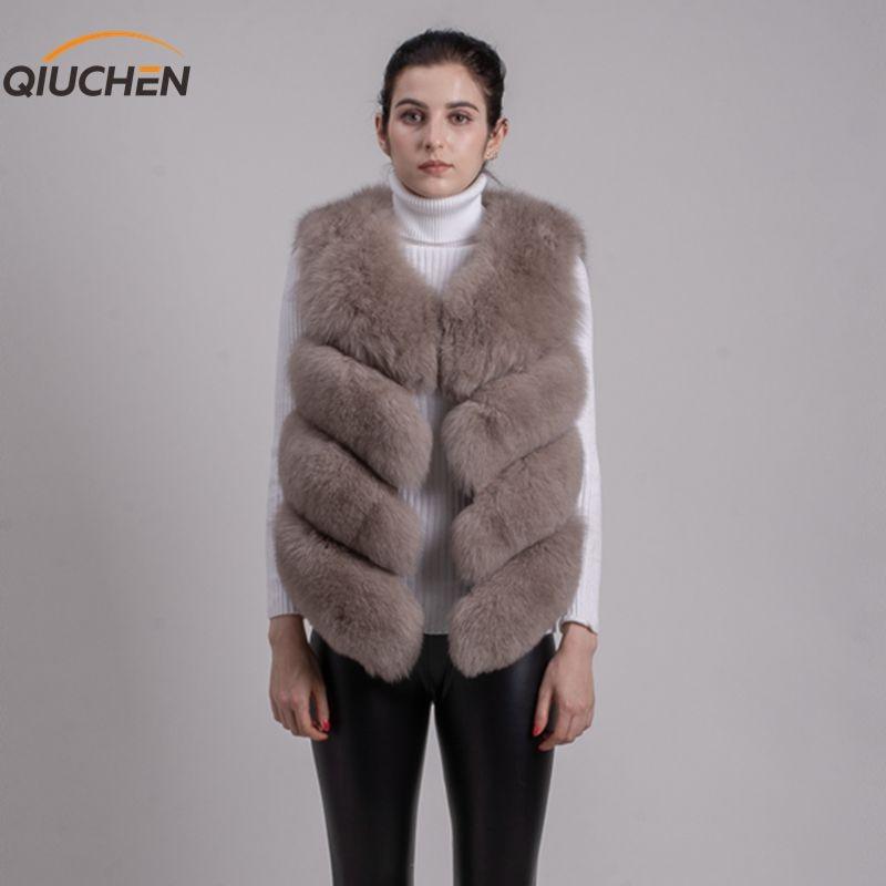QIUCHEN PJ8005 2018 New arrival hot sale natural real fox fur vest gilet for women girls