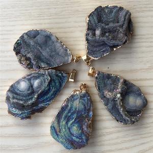 Image 5 - Nouveau luxe personnalisé pierre naturelle galaxie pendentifs, nébuleuse cosmique créatif Agates collier et pendentif belle chanceux 5 pièces Lot