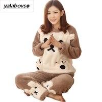 Yalabovso 2017 Cute Bear Piżama Dorosłych Ciepłe Flanelowe Piżamy Zwierząt Kreskówki Unisex Piżama dla kobiet one piece Piżamy zestaw z15