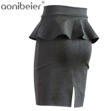 Women Skirts Multi Color OL Lotus Leaf Slim Stretch High Waist Pack Hip Skirt Plus Size S-5XL Summer Autumn Womens Pencil Skirts