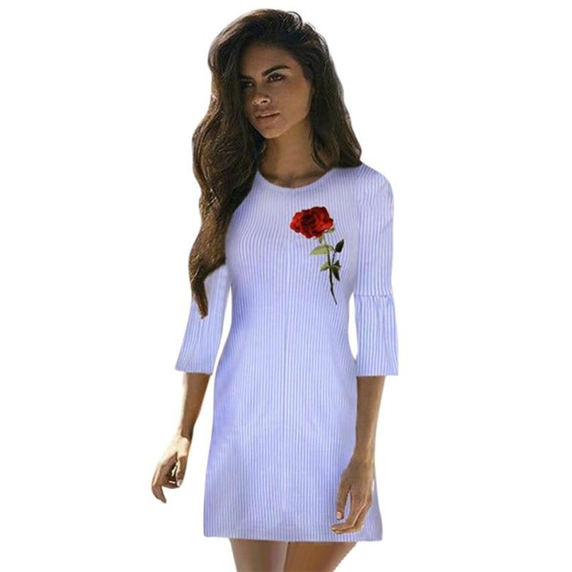 Blue Off Shoulder Dress Embroidered Rose Patch Striped Flounce Bardot Dress Summer Short Sleeve Sexy Dress #HFR52