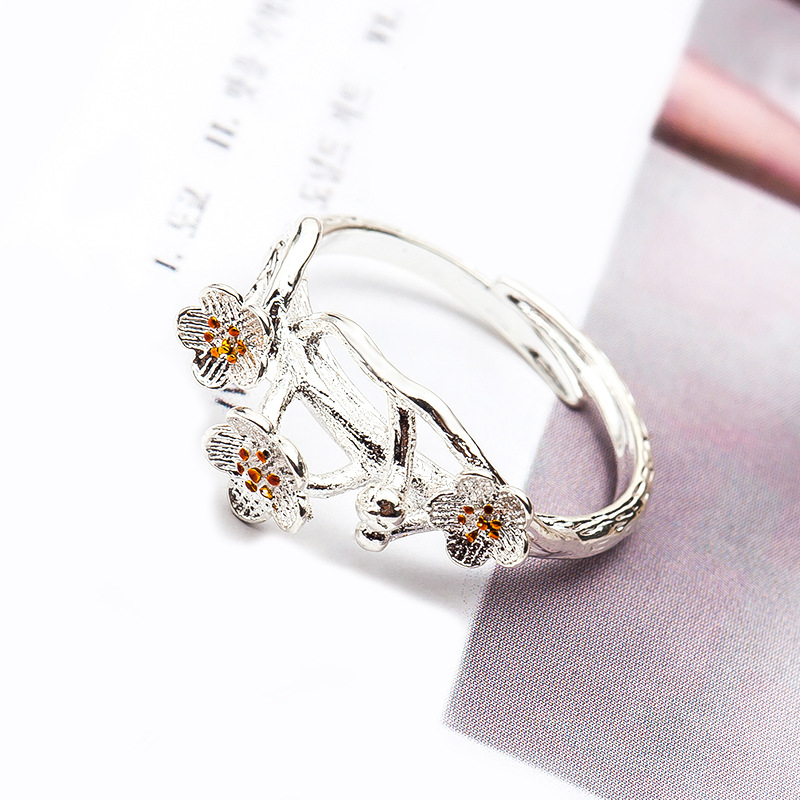Womens Mens Ring New Adjustable Silver Plated Charm Black Cherry Ring Flower Ring for Women Girl Simple Opening Ring Fashion Party Jewelry