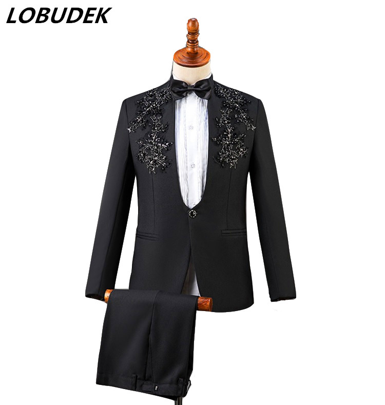Men Stand Collar Sparkly Sequins Blazer Suits Adult Costume Male Chorus Performance Clothes Wedding Dress Singer Host Slim Suit