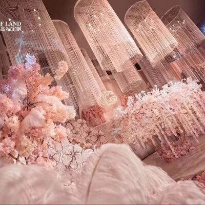 80 cm Dia par 3 M de haut gland rideau plafond lustre couverture toit décoration accessoires de mariage 6 pcs/lot