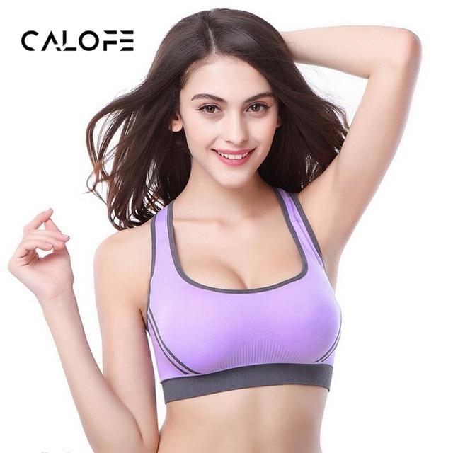 2a572b3055 CALOFE Sports Bra Women Back Cross Wirefree Paddee Crop Top Bra For Yoga  Running Athletic Gym Vest Women Fitness Yoga Bra Tops
