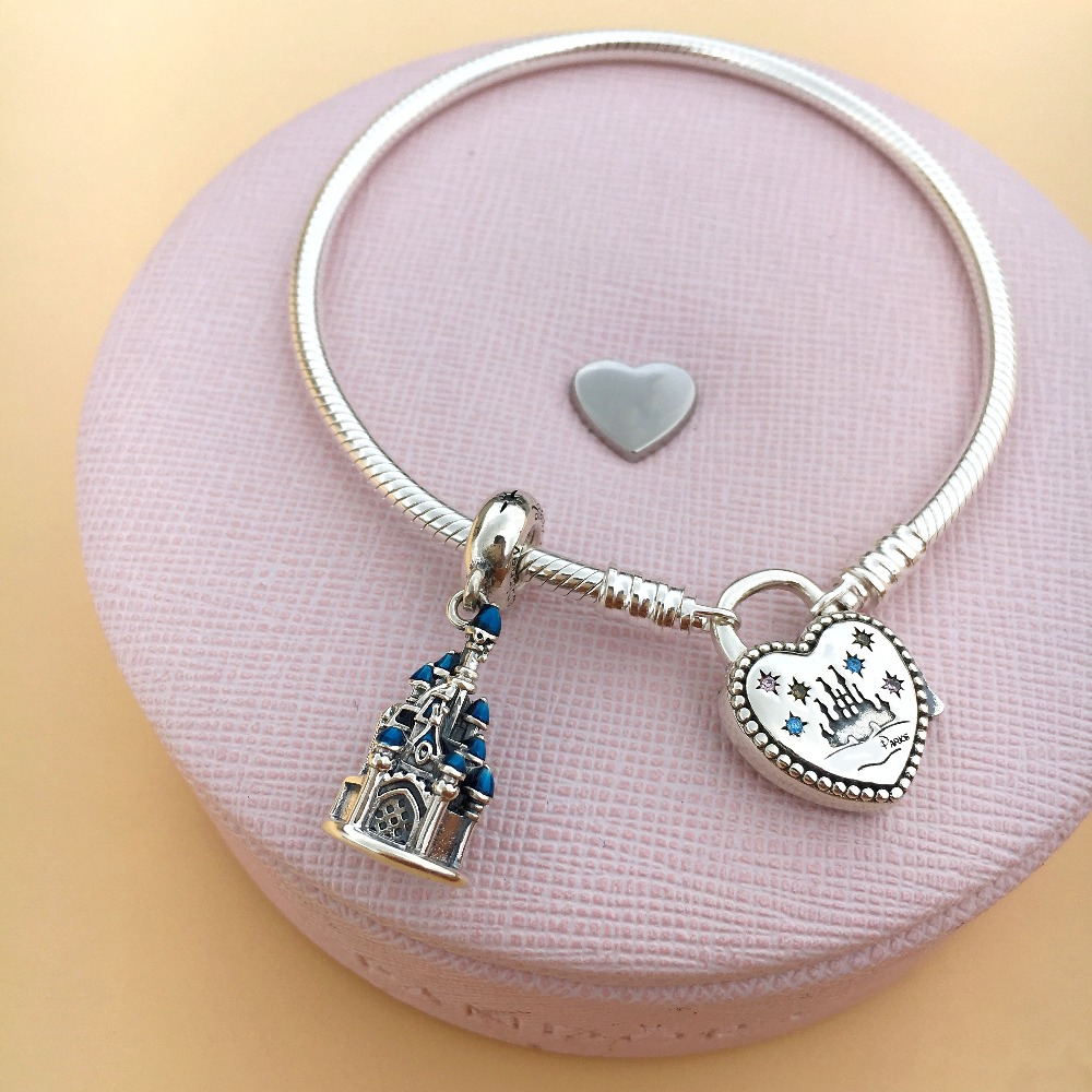 Gincco Castle Charm And Dsni Bracelet Fit Original Pandora Bracelet DIY Sterling Silver 925 Charm