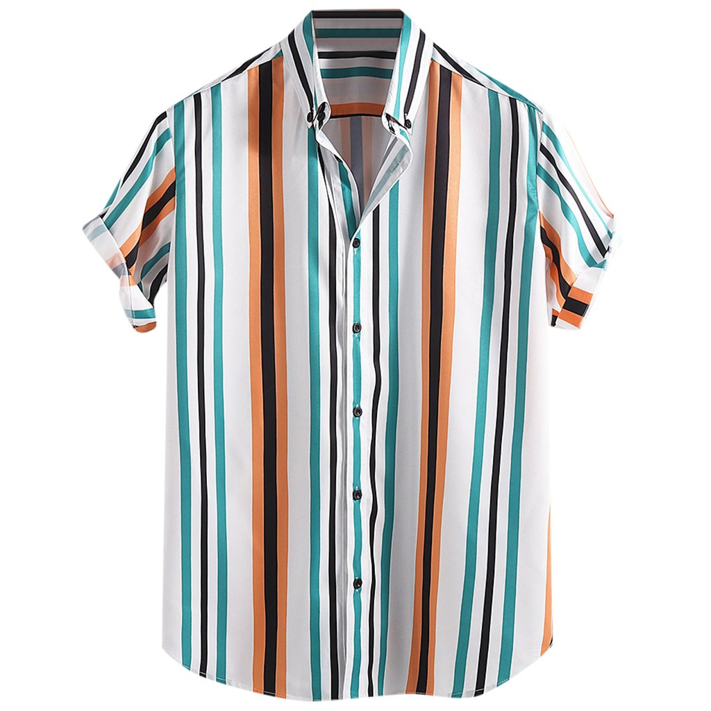2019 Mens  Breathable Striped Turn Down Collar Short Sleeve Loose Casual Camisa Hombre sCamisa Hombre Рубашка