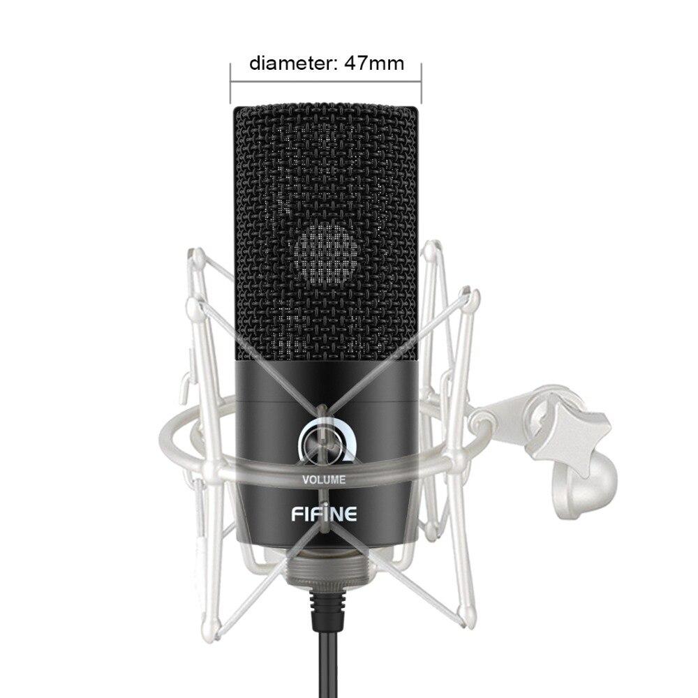 Microphone d'enregistrement à condensateur USB en métal Fifine pour ordinateur portable MAC ou Windows - 4