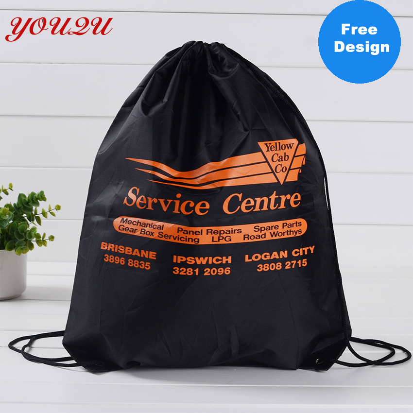 Wholesale 35*40CM Drawstring Bag Printing Own Logo 210D Polyester Material With Cheapest Price
