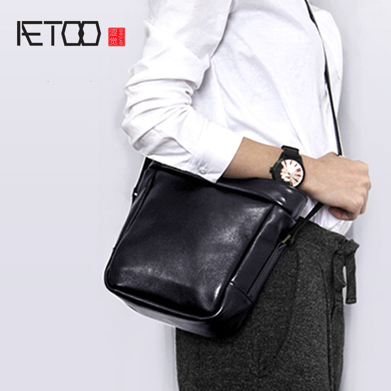 AETOO Female soft leather first layer of leather simple art retro bag Messenger bag small square bag art of war