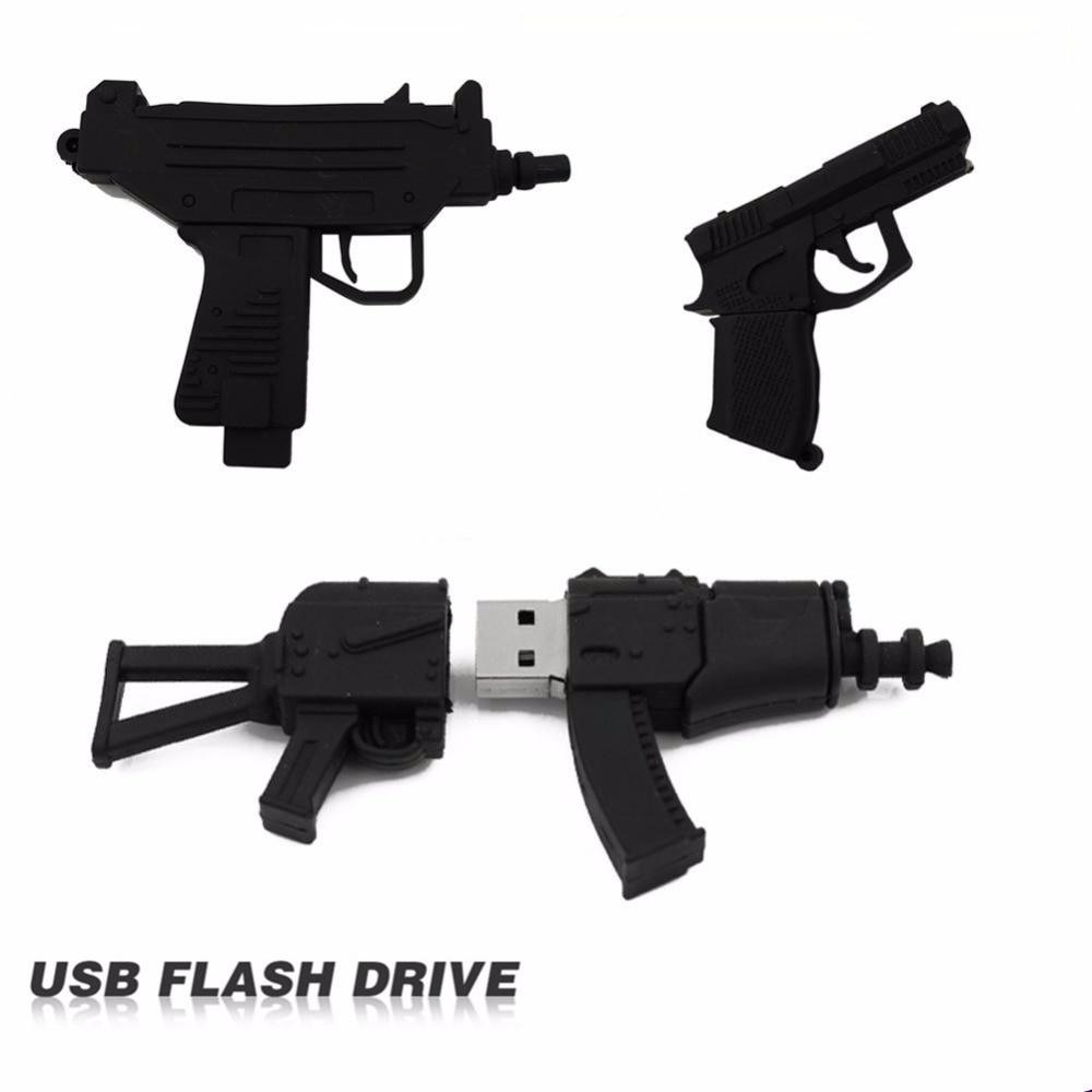 100% Full Usb Flash Drive Black Machine Gun Pen Drive Usb 2.0 Flash Drive U Disk Pen Drive 4GB 8GB 16GB 32GB Memory Stick