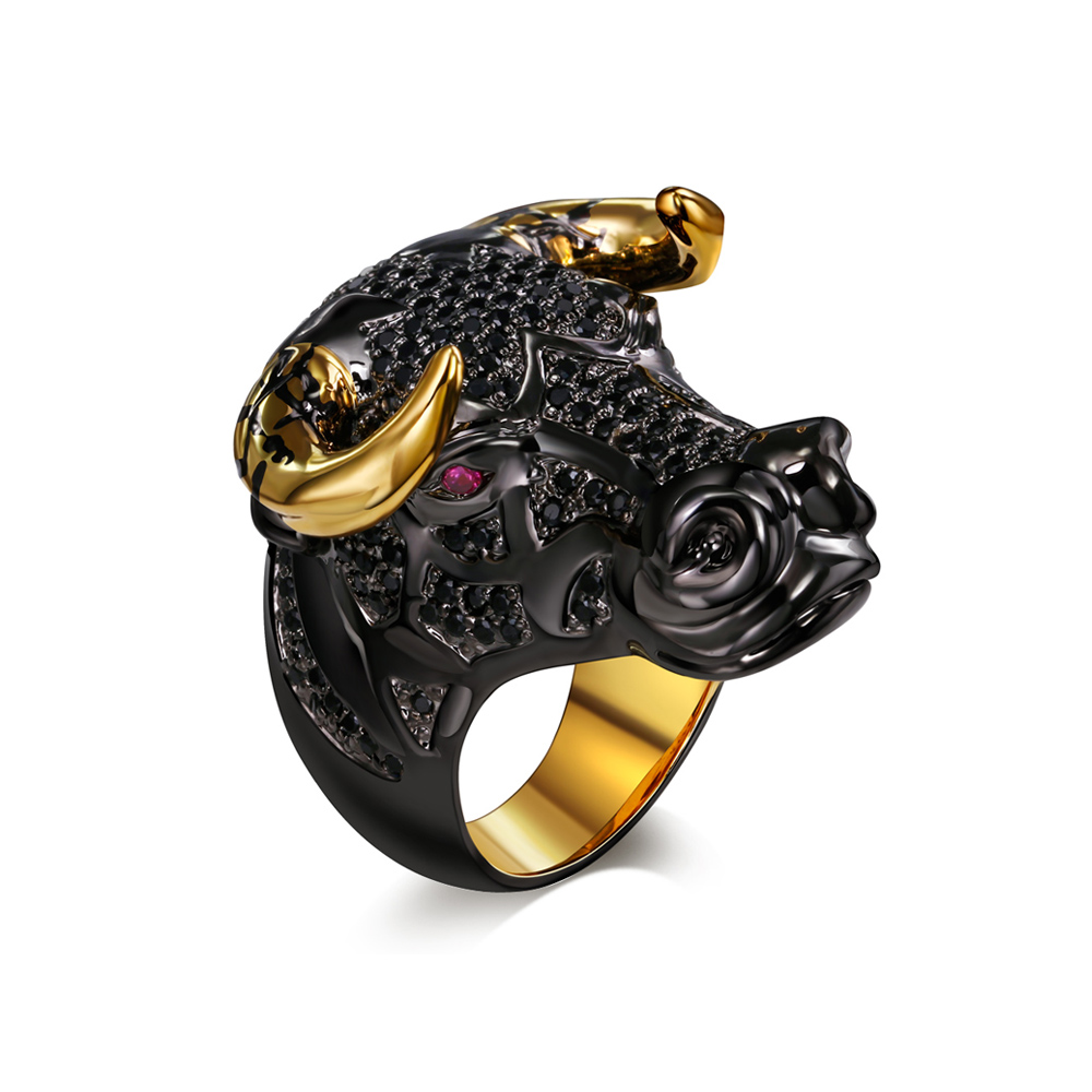 Black Nano Cubic Zirconia Rings Black Gold Color Fashion Party Crystal Lucky Bull Cape Punk Hip Hop Ring for Women Jewelry