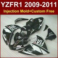 Черный мотоцикл обтекатели FIAT для YAMAHA Injection mold YZF R1 09 10 11 12 R1 части тела YZF1000 YZF R1 2009 2010 2011 + 7 Подарки