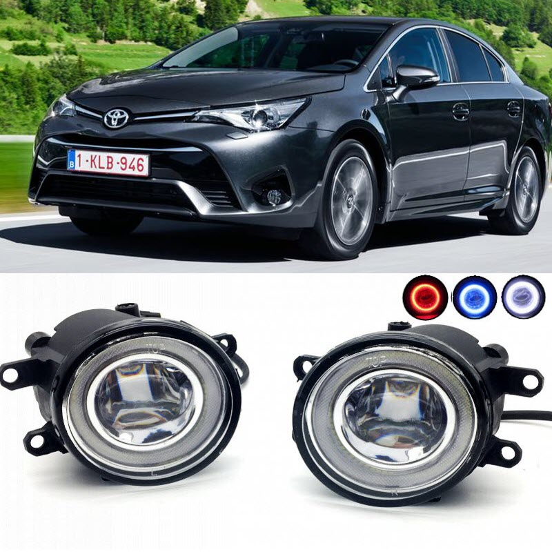 2 in 1 LED Cut-Line Lens Fog Lights Lamp 3 Colors Angel Eyes DRL Daytime Running Lights for Toyota Avensis T270 2010-2016 2017 car styling 2 in 1 led angel eyes drl daytime running lights cut line lens fog lamp for land rover freelander lr2 2007 2014