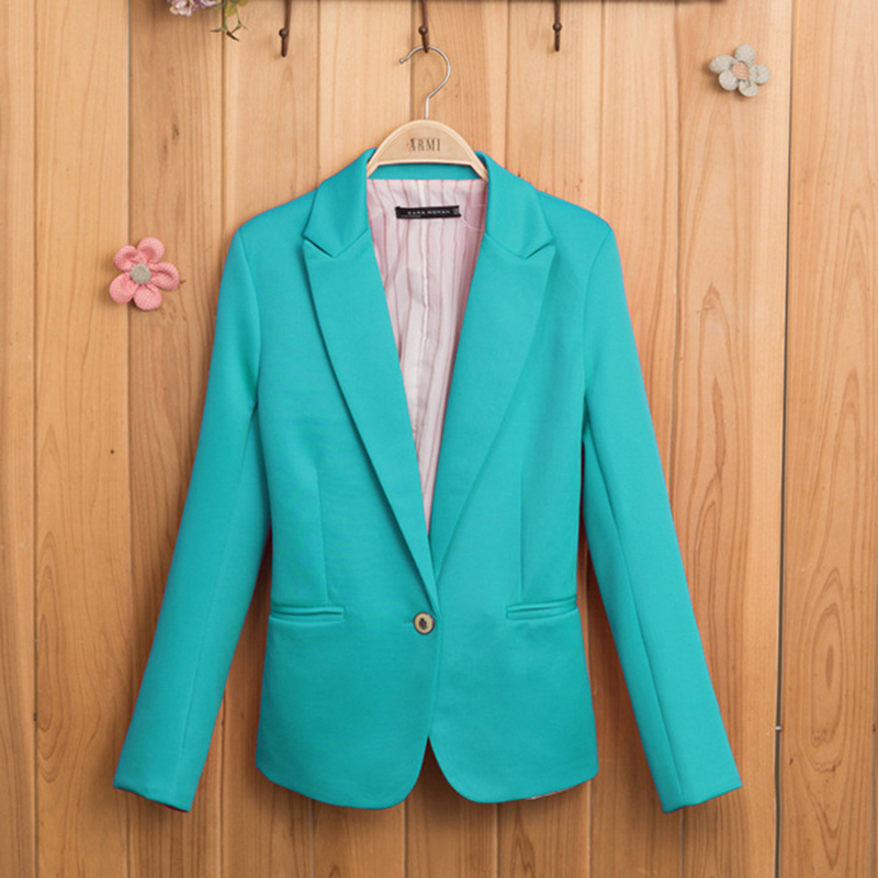 Candy-colored Women Suit Long Sleeves Coat 2018 New Fashion Jacket Blazer Femme Lined With Striped Single Button Blazers Jacket