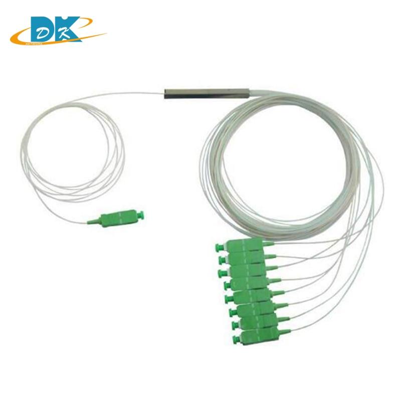 10 pièces 1x8 Monomode Diviseur de PLC (Lightwave Circuit Splitter) Avec Ventilateur Out & SC/APC Connecteurs FTTH 1:8 diviseur optique de fibre