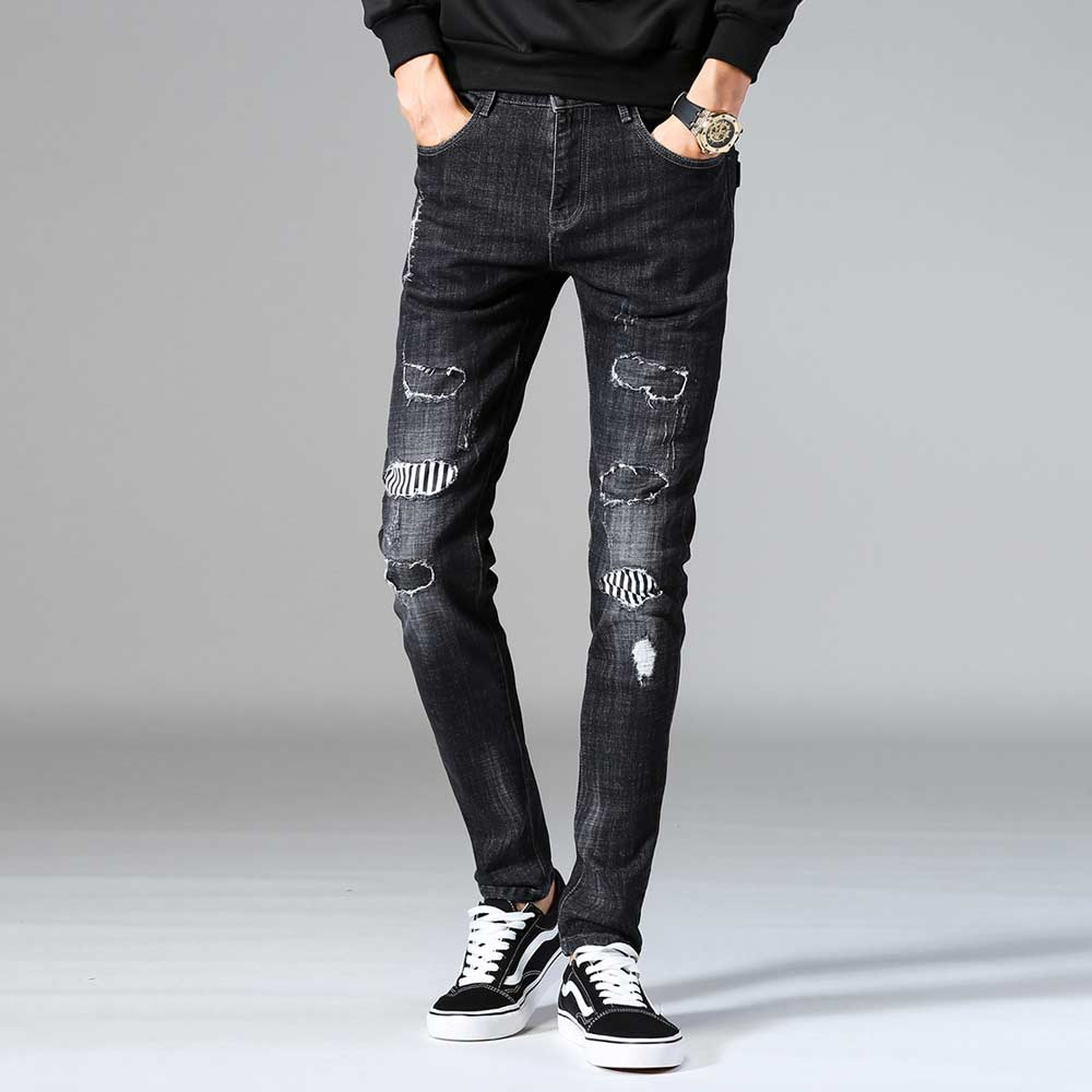 Slim Men's Patched Black Jeans Cool Designer Ripped Patchwork Denim Pant Skinny Nightclubs Singers Wear