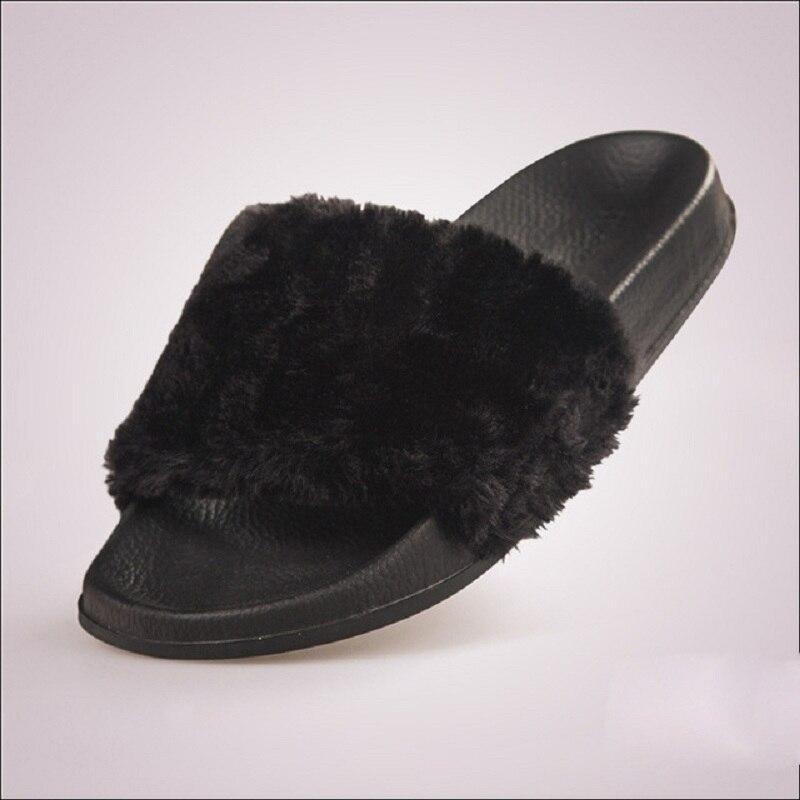 Пушистый мех Для женщин тапочки модные шлепанцы Для женщин плисовые зимние ботинки повседневная обувь Туфли без каблуков Белый Черный ...