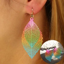 Fashion Double Leaves Hollow Out Big Leaf Drop Earring Newly Creative Dangle