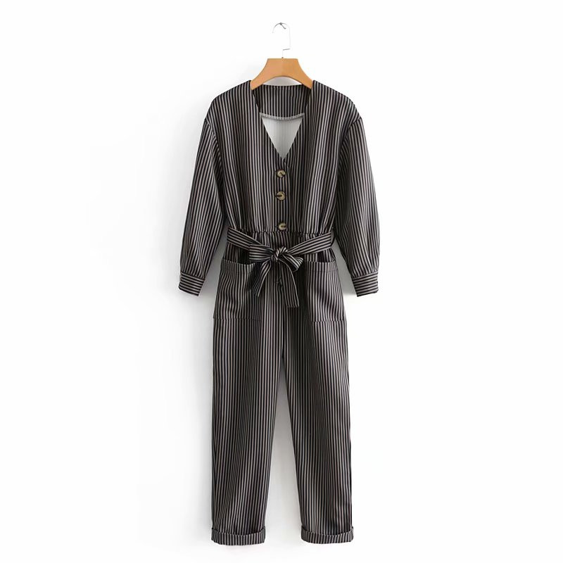 f41357b5bb1 Women Striped Jumpsuits Bow Tie Belt Overalls Long Sleeve V-Neck Button  Pocket Casual Rompers