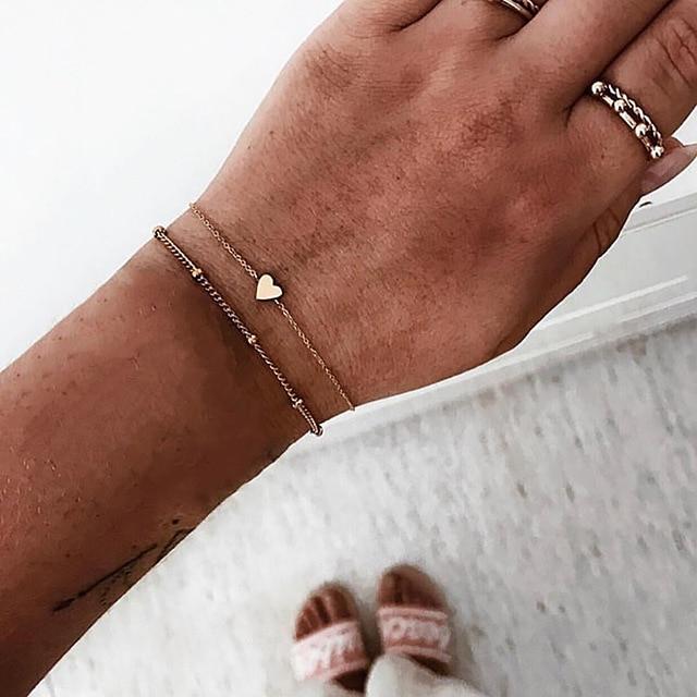 2 cái/bộ Tối Giản Vàng Bạc Màu Nhỏ Tình Yêu Liên Kết Vòng Đeo Tay Chuỗi Cho Phụ Nữ Tình Bạn Tình Yêu Quyến Rũ Vòng Tay Lắc Tay Đồ Trang Sức