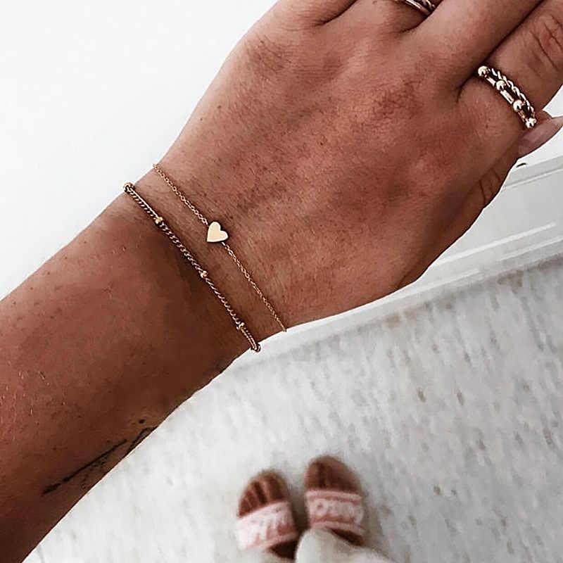 2 pçs/set Minimalista Ouro Cor Prata Pequeno Amor Chain link Pulseiras Para Mulheres Amizade Amor Charme Pulseiras Bangles Jóias