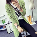 2016 European and American women's version of long section the gradient color cardigan sweater coat was thin V-neck long-sleeved