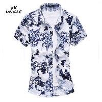 Shirt 2016 Summer Style Short Sleeve Shirt Men Silk Cotton Floral Print Men S Shirts Plus