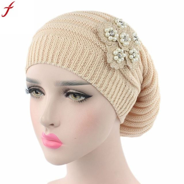 Women Ladies Hat Fashion Rhinestones Pearl Warm Knit Winter beanies for  women Cancer Hats Turban Head Wrap Cap bonnet femme 76585a0447d