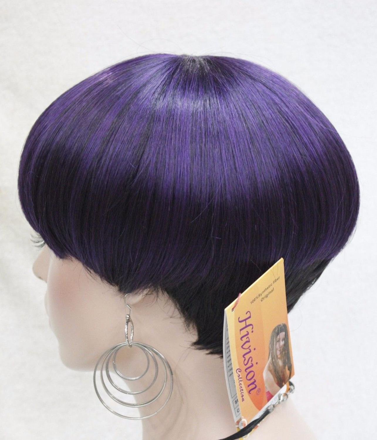 Mushroom Haircut Black Purple Mixed Short Straight Lady Womens Wig