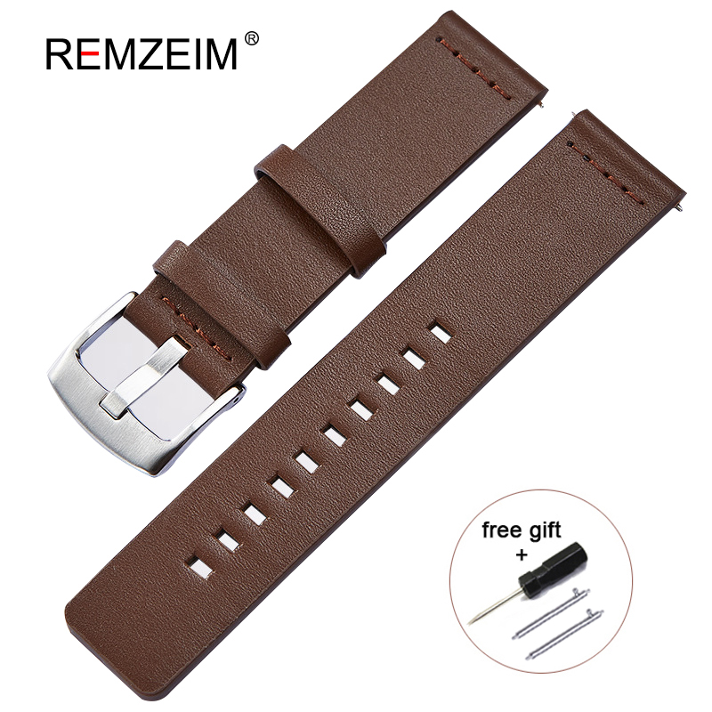 18mm 20mm 22mm 24mm Italian Oily Leather Watch Band Quick Release Watch Band Wrist Strap Steel Buckle Bracelet Black Brown