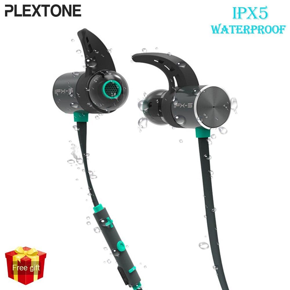 Plextone BX343 auricular inalámbrico Bluetooth IPX5 impermeable auriculares Dual de la batería magnético auriculares deporte auriculares con micrófono