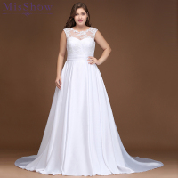 Cheap Plus size wedding dress 2018 Vestido De Novia Longo Bridal Dresses Satin with Lace Robe de Marriage plus size Ball Gown