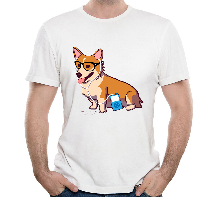 2019 New Summer Dog Print T Shirts Funny Men's Short Sleeve Funny Hipster Corgi T-shirt Men Casual Tops Cool Hipster Boy Tees